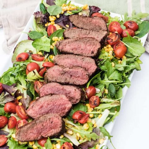Balsamic Steak Salad with Grilled Corn & Tomato