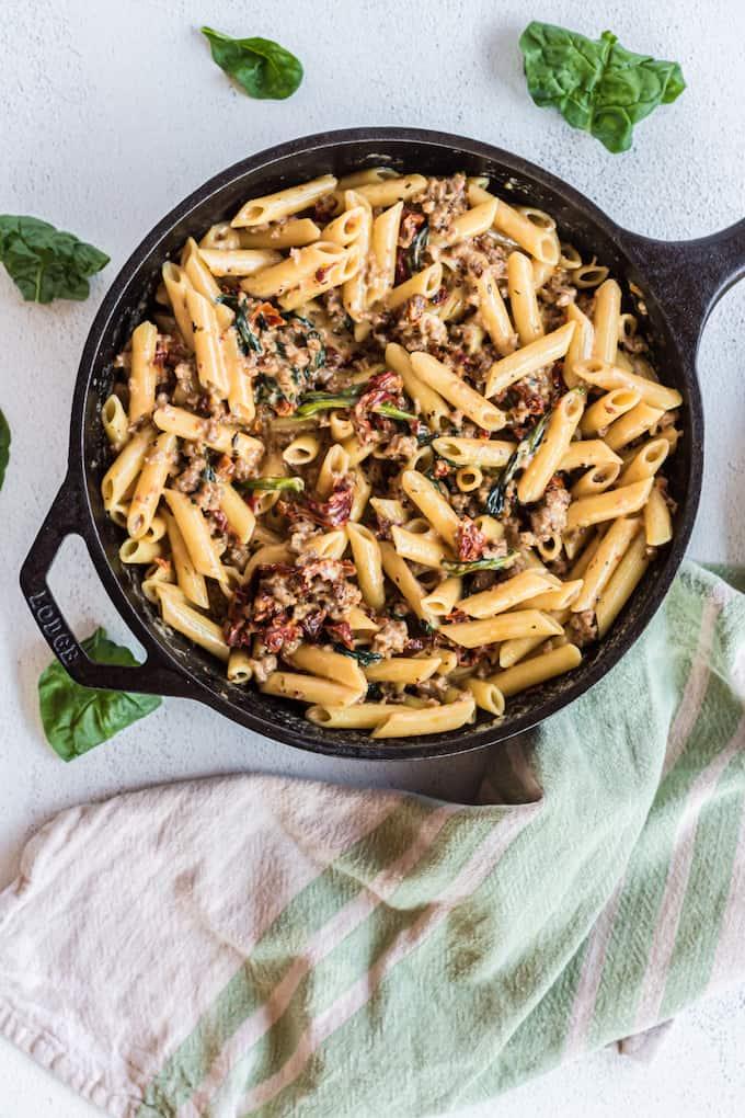 Creamy Tuscan Italian Sausage Pasta